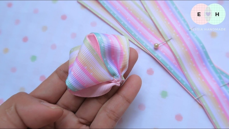 Amazing Ribbon Bow - Hand Embroidery Works - Ribbon Tricks Easy Making Tutorial 38