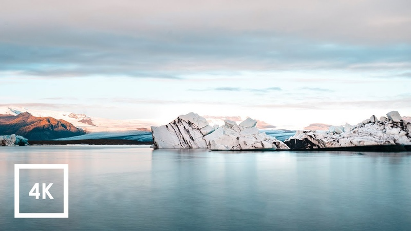 Glacier Lagoon Ambience Sounds in Iceland for Sleep (Binaural Glacier Ambience) 4k ASMR