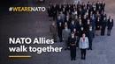 NATO Allies walk together NATO's 70th anniversary