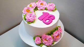Тортик с пышными Пионами(крем БЗК). /Cake with lush Peonies(protein custard)