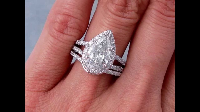 2.95 ctw Pear Shape Diamond Engagement Ring and Wedding Band Set - BigDiamondsUSA