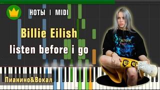 🎼 Ноты Billie Eilish - listen before i go на пианино - Пианино&Вокал (урок для фортепиано)