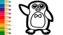 Vẽ và tô màu Chim Cánh Cụt | Dạy Bé Tô Màu | Penguin Coloring Pages For Kids
