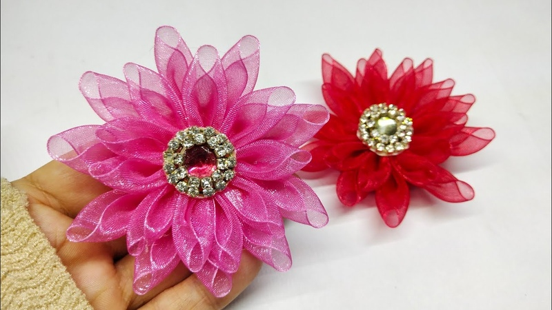 188) How to make kanzashi flower from organza ribbon || Cara membuat bros kanzashi