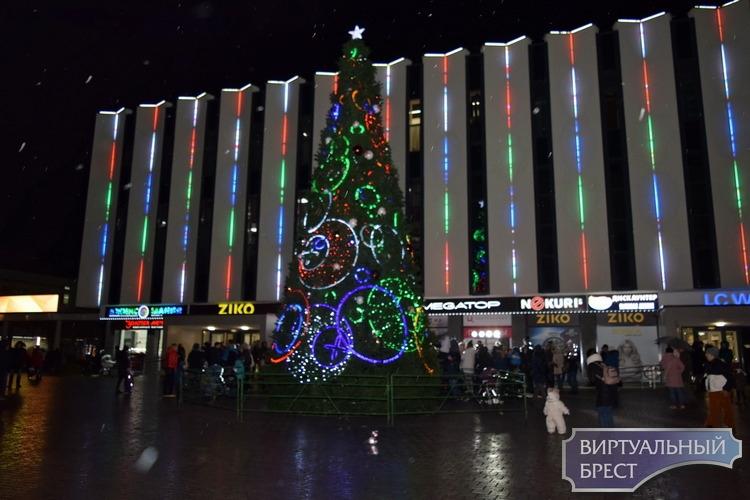 Возле брестского ЦУМа зажгли красочную новогоднюю елку
