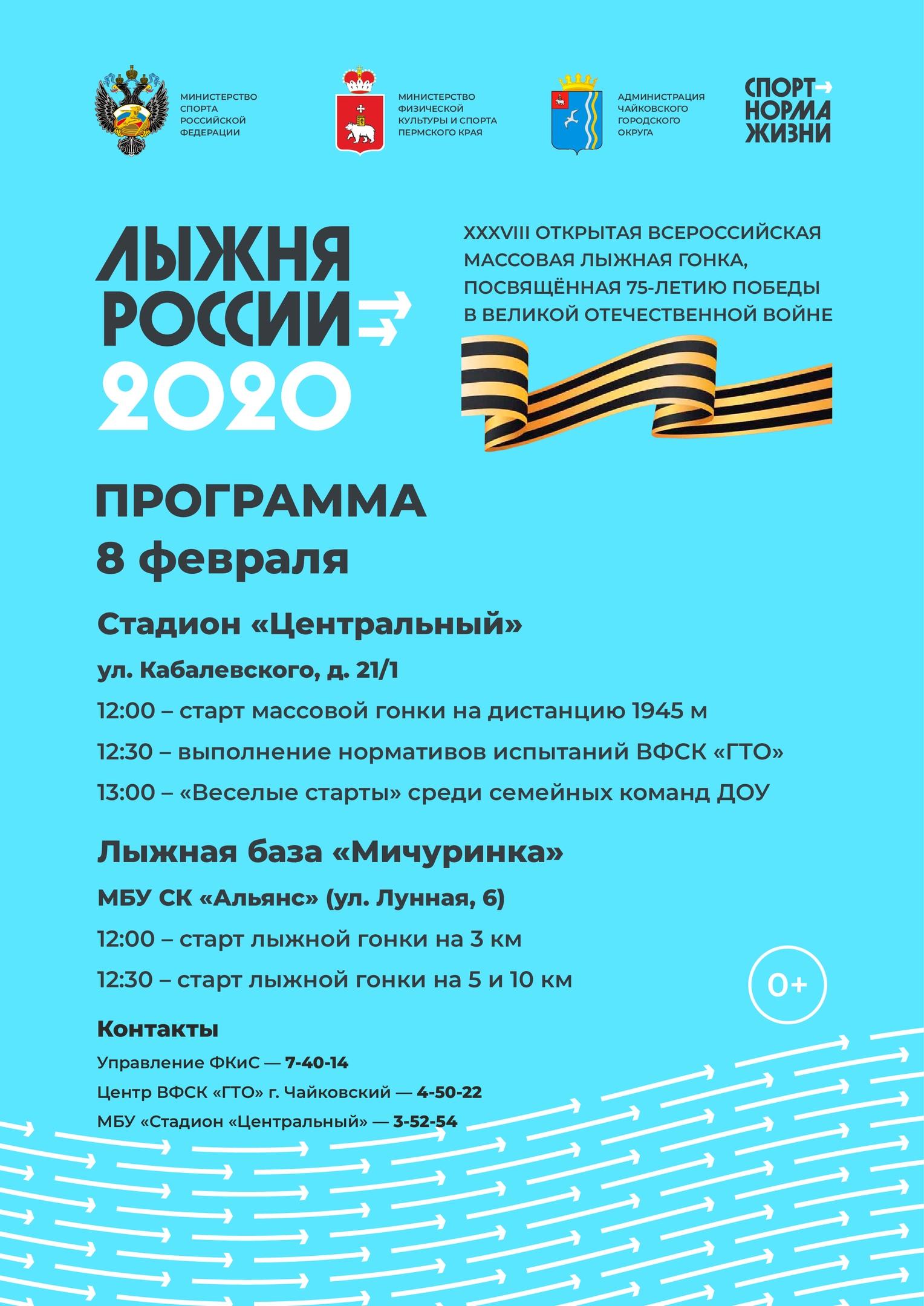 лыжня россии, афиша, чайковский район, 2020 год