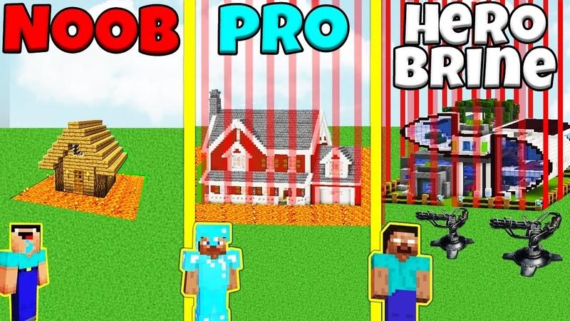 Minecraft Battle NOOB vs PRO vs HEROBRINE SAFEST HOUSE BUILD CHALLENGE Animation