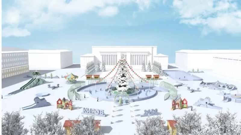 На главной площади города начали устанавливать елку