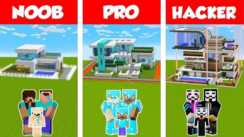 Minecraft NOOB vs PRO vs HACKER SAFEST FAMILY HOUSE BUILD CHALLENGE in Minecraft Animation