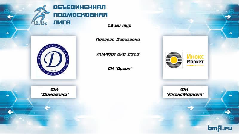 13-ый тур Первого Дивизиона ЖМФЛЛ 8х8 2019 Динамика — ИноксМаркет