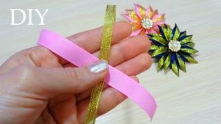Amazing Kanzashi Flower| Цветы из лент Канзаши| Hand Embroidery Flowers| Easy Flower Making|Ola ameS