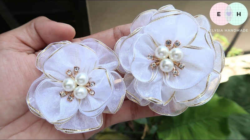 Amazing Organza Ribbon Flowers - Hand Embroidery Works - Ribbon Tricks Easy Making Tutorial 64