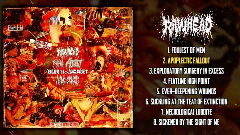 Rawhead 4 way split w Active Stenosis Blue Holocaust Raw Addict 2020 Goregrind