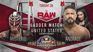 Andrade Cien Almas vs Rey Mysterio US Championship Ladder match RAW 20th January