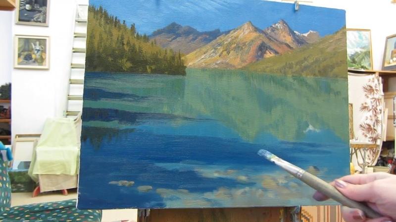 Промо мастер-класс живописи Надежды Русиновой Горное озеро