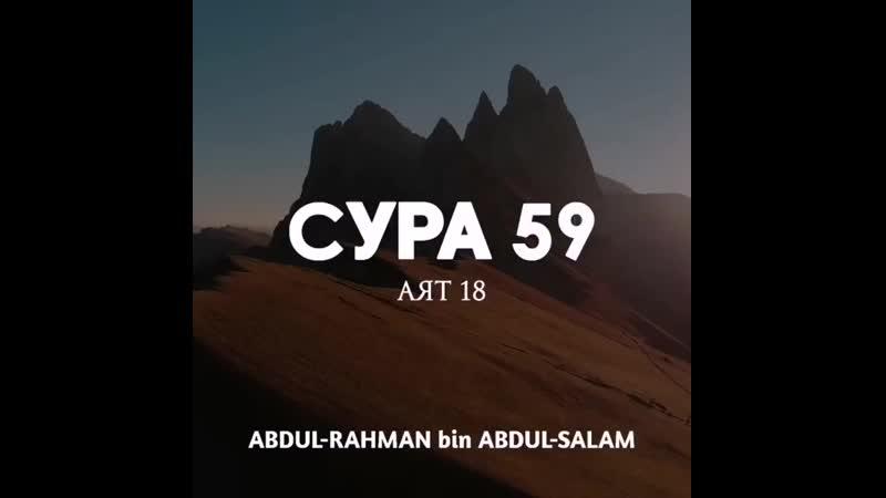 ⠀ Сура 59 Сбор аят 18 Чтец Абдуль Рах 750 X 750 mp4