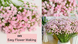 DIY Baby Breath Paper Flower Making / How to Make Tiny Bunches Of Flowers By Aloha Crafts