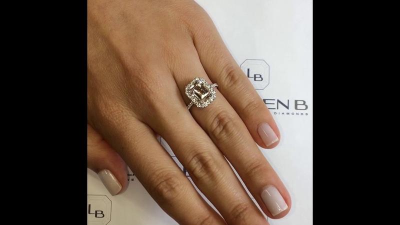 2 ct Emerald Cut Pink Morganite Halo Engagement Ring