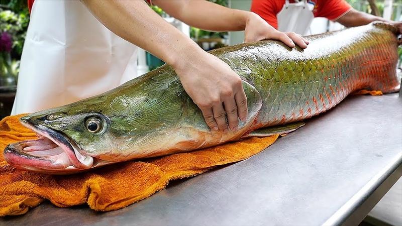 Thai Food GIANT RIVER MONSTER Amazon Fish Ceviche Bangkok Seafood Thailand
