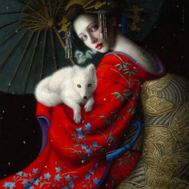 Восточные храмы, традиционные замки, расписные кимоно местных жителей нашли отражение в творчестве Чи Йоши Чтобы получить высшее образование, девушке пришлось перебраться в Соединенные штаты