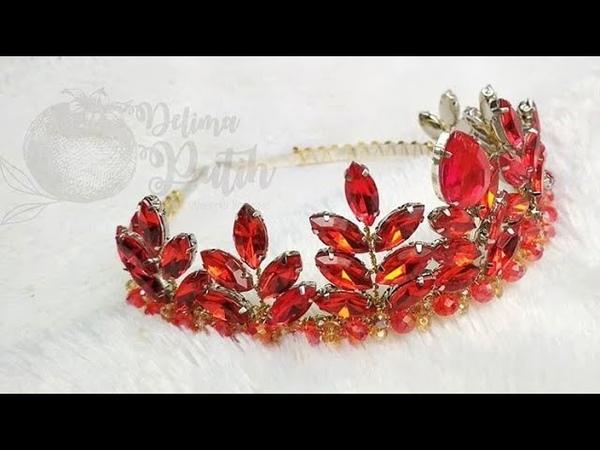 DIY how to make a crown tiara tutorial membuat mahkota dengan swarovsky