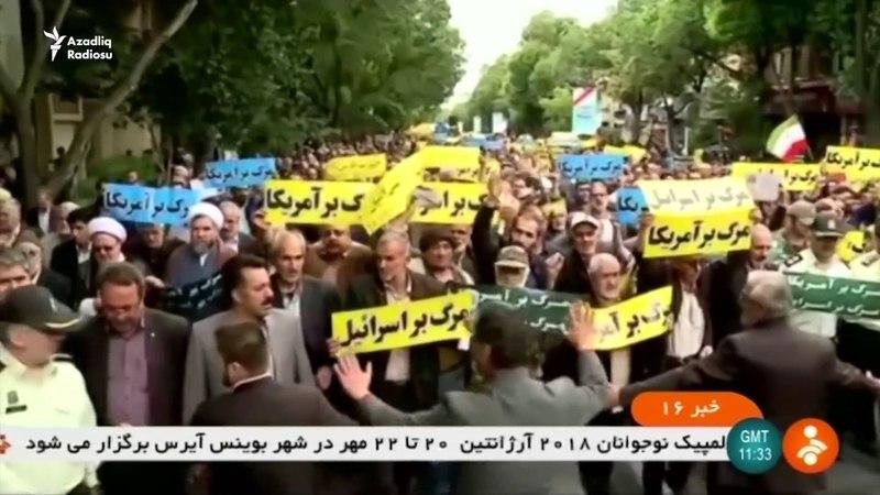 İranın iri şəhərlərində ABŞ əleyhinə kütləvi aksiyalar keçirilib