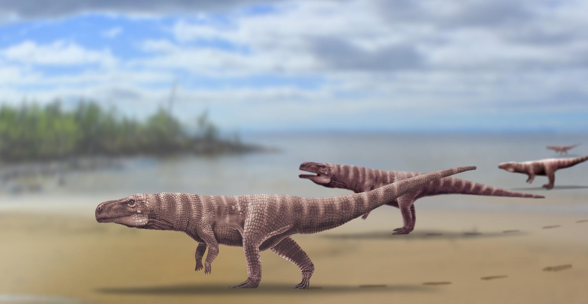 Гигантские двуногие крокодиломорфы мелового периода в представлении художника