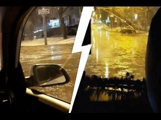 Автомобилистам в Екатеринбурге пришлось «переплывать» затопленные участки дороги
