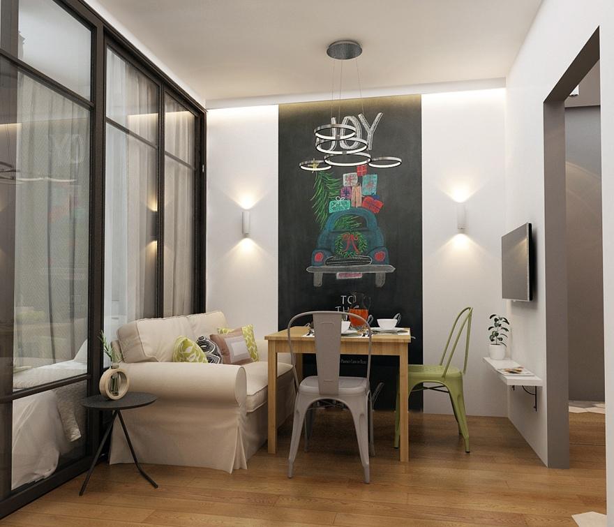 Проект прямоугольной студии почти 29 м (с лоджией – 33,7 м) с зонированием стеклянной перегородкой.