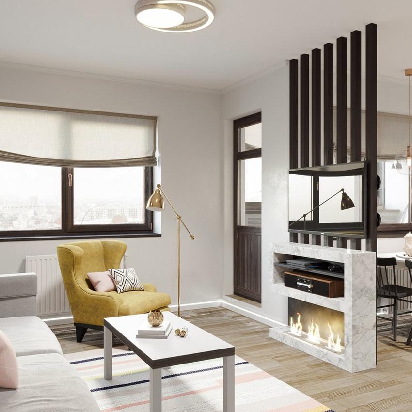 Проект квартиры почти 43 м с реечными перегородками и высокой кроватью.