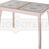Стол обеденный  Танго ПР-1 МД ст-72 07 ВП МД, молочный дуб, растительный орнамент
