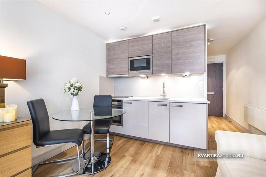 Интерьер прямоугольной квартиры-студии 26 кв.