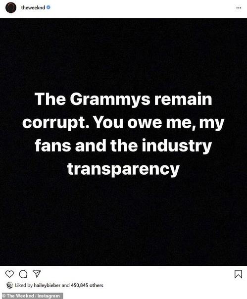 The Weend обвинил «Грэмми» в коррупции Вчера, 24 ноября, стали известны номинанты на премии «Грэмми-2021». Среди всех 83 категорий не оказалось исполнителя The Weend. В своем Твиттере музыкант
