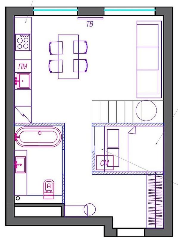 Интерьер квартиры-студии 36 кв.