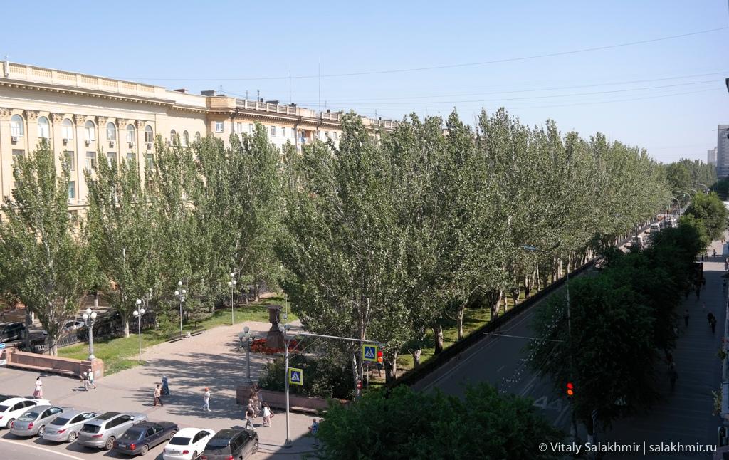 Проспект Ленина в сторону Мамаева кургана