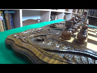 Шахматы  нарды резные Корона 40 см Haleyan вк