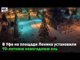 В Уфе на площади Ленина установили 90-летнюю новогоднюю ель 🙄