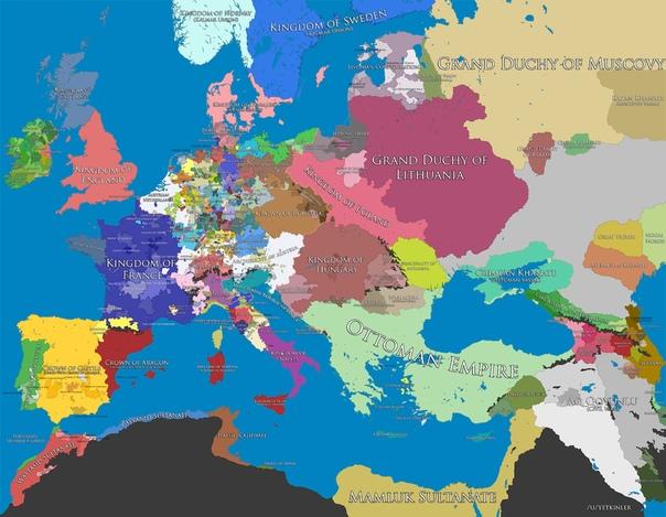Политическая карта Европы 1500г.© mi3ch·livejournal·com