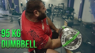 95 KG (210 LBS) 1 arm seated bicep curls [with subtitles]